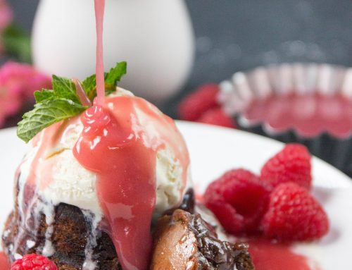 Brownie Sundaes with Salted Raspberry Caramel Sauce